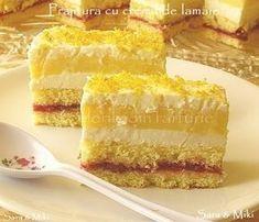 Cake with Lemon Cream Romanian Desserts, Romanian Food, Lemon Cream, Ice Cream, Sweet Cakes, Something Sweet, Vanilla Cake, Gingerbread, Sweet Treats