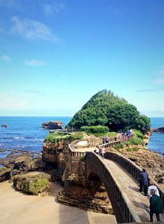 Rocher de la Vierge on the Aquitaine coast of France #biarritz #france #spistudyabroad #highschool #studyabroad https://www.spiabroad.com/france/