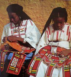 Africa   Tuareg women in Agadez (northern Niger) decorating leather saddle bags   ©René Gardi, 'Artisans Africains: Recontres Et Choses Vecues En Afrique Occidentale – Hardcover (1970)