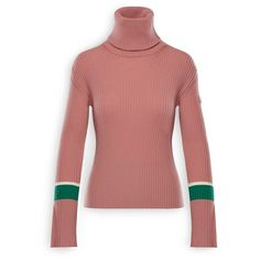 Moncler Wool Turtleneck Sweater (6.405.605 IDR) ❤ liked on Polyvore featuring tops, sweaters, pastel pink, pink turtleneck sweater, wool turtleneck sweater, pink top, red top and pastel sweaters