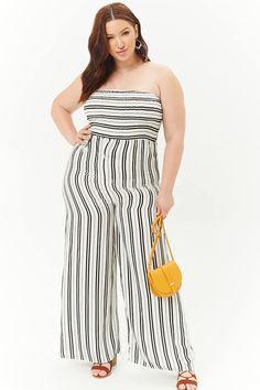 258602b05da Plus Size Smocked Striped Jumpsuit