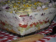 Sałatka warstwowa z tortellini - PrzyslijPrzepis.pl Tortellini, Appetizers, Ice Cream, Pudding, Cheese, Cake, Desserts, Recipes, Food