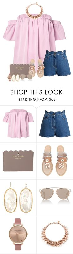 """""""love is a funny thing"""" by pashion-in-fashion ❤ liked on Polyvore featuring Milly, Valentino, Kate Spade, Jack Rogers, Kendra Scott, Christian Dior, Olivia Burton, Ellen Conde, katespade and kendrascott"""