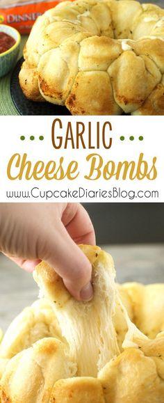 Garlic Cheese Bombs Frozen Dinner Rolls, Side Dishes For Pizza, Sides For Pizza, Side Dishes For Party, Pasta Side Dishes, Good Side Dishes, Sides For Dinner, Cheap Side Dishes, Italian Side Dishes