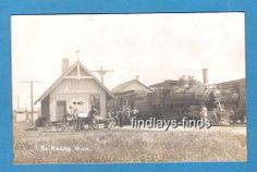 North Adams MI Real Photo Rail Road Train Station Depot 1916