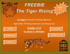 Tiger Rising Novel Study Resources Freebie Kate DiCamillo