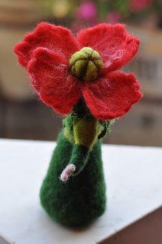 Needle felted Waldorf Poppy-girl- soft sculpture --needle felt by Daria Lvovsky -For custom orders