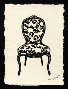 Louis XV Chair  HandCut Silhouette Papercut by tinatarnoff on Etsy, $70.00