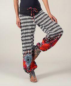 Black & White Floral Pants   zulily