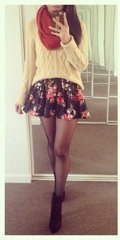 I want this outfit! skater skirt with a cozy knit sweater, a scarf, tights and boots Skirts With Boots, Mini Skirts, Skater Skirts, Skirt Boots, Skater Skirt Outfits, Skirt Leggings, Dress Outfits, Cute Fashion, Look Fashion