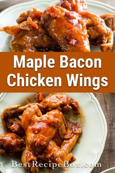 Check us out to learn how to make our Maple Bacon Chicken wings recipe. It has a great kick of flavor the whole family will enjoy. New Chicken Recipes, Healthy Baked Chicken, Slow Cooked Chicken, Chicken Bacon, Yum Yum Chicken, Chicken Wings, Bourbon Chicken, Maple Bacon, Bacon Recipes