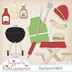 Backyard BBQ Layered PSD Templates by Kim Cameron ; Commercial Use for Digital Scrapbooking, #CUDigitals
