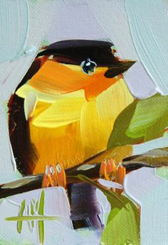 Orange Collared Manakin Original Bird Oil Painting by Moulton ACEO | eBay