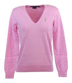 $99 - Ralph Lauren Sport Womens V-Neck Cotton Sweater Pink #ralphlauren