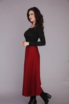 This Elegant dark red pleated skirt will suit all sizes #fashion #skirts #gooseisland