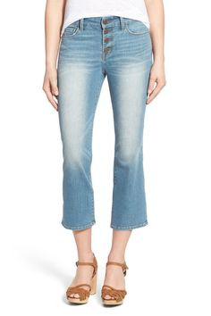 High Rise Crop Flare Jeans (Marine Dusk Worn)