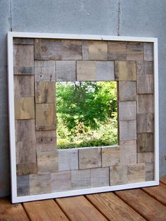 ON SALE Reclaimed Wood Mirror by RusticWoodOriginals on Etsy, $175.00 see if she can make a larger one