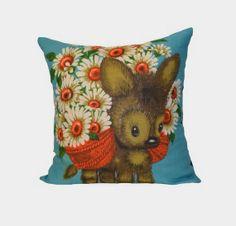 FLOWER DONKEY Vintage Linen Cushion Cover by AColourfulLife1, $35.00