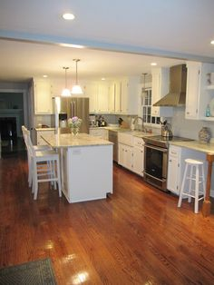 White Kitchen Wood Floors On Pinterest White Kitchens Floors And White Cab