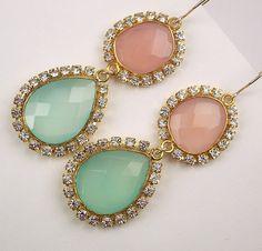 Bezel Set Gemstone Earrings Pink Aqua Green by DoolittleJewelry