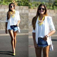 Zara Blazer, Zara Shorts, Rebeca Sanver Heels, Teria Yabar Necklace http://marilynsclosetblog.blogspot.com.es/2013/07/college-85-lemon.html