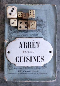 """Boutique Nain.de.Jardin. Ancienne plaque émaillée d'utilité """"Arrêt des cuisine"""""""