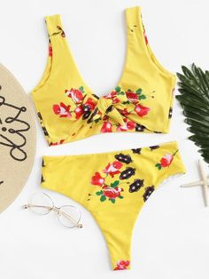 876a92e56c 2018 Hot Knot Brazilian Bikini Set Cherry Print Thong Bikinis Swimwear  Women s Swimming Suit Bathing Suit
