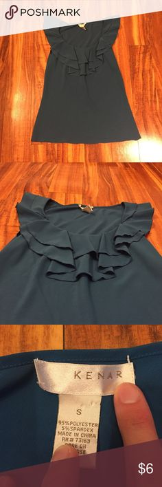 Kenar Ruffle Top Kenar Ruffle Top. Teal color. Pic 2 shows most accurate shade of teal. EUC. Size small. Offers considered. Kenar Tops Blouses