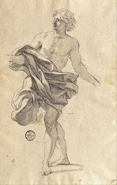 Giovanni Battista Gaulli (Il Baciccio), Study of a Young Man Dancing, c. 1680-2.