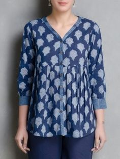 Indigo Hand Block Printed Cotton Top by Aavaran Short Kurti Designs, Printed Kurti Designs, Kurta Designs Women, Blouse Designs, Cotton Tops For Jeans, Indigo, Indian Tops, Indian Ethnic, Kurta Neck Design