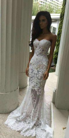 Shevny Floor Length White Mermaid Style Sweetheart Wedding Dress