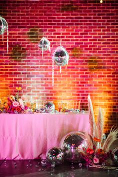 Sparkly disco balls, vivid colors, and lots of attitude……if you are obsessed with expressive colors then you're going to love technicolor disco themed wedding shoot planned by Missouri wedding planner, Plan it Terra. Based in Jefferson City. Pink Wedding Theme, Glitter Wedding, Wedding Goals, Wedding Shoot, Our Wedding, Chic Wedding, Retro Wedding Inspiration, Pink Flower Arrangements, Disco Theme