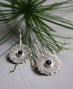 Ebony, Celtic knots sterling silver onyx earrings