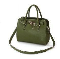 Leather Elegant Tote Shoulder Bags Lock Decoration