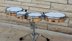Prototype Practice Tenors. A TreeHouse first! Practice all your diddles, sweeps, and crossovers on real drums that mount to the concert snare stand you already own.  A tenor player's dream come true!  3x6, 3x8, 3x10, 3x12; plied maple; satin wax.  To see more pix, and search our entire TreeHouse archive for your favorite specs, visit our photo gallery:http://www.flickr.com/photos/treehousedrums/collections/
