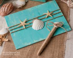 BEACH  ocean blue Guest book  - rope and starfish, shells - beach wedding nautical  - Personalized