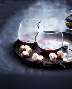 A hot drink on a cold day is comfort in a cup; mulled wine in particular is an extra special winter warmer. Here are a few globally inspired variations to keep nights in interesting. Non Alcoholic Wine, Butterscotch Sauce, Work Meals, Wine Glass Holder, Peppermint Patties, Mulled Wine, Chocolate Treats, No Bake Desserts, Food Inspiration