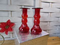 Viking Glass, Rainbow Glass, Red Vases, Crimson Candle Holders, Vintage by OurVintageHouse on Etsy
