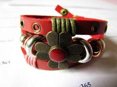 3 Circles Copper Flower With Metal Snapper women red leather bracelet by braceletcool, $7.00