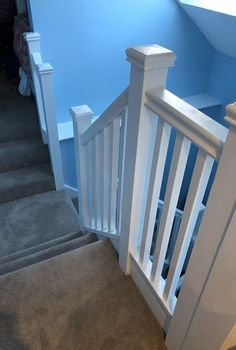 A softwood staircase with square posts and spindles. The staircase consists of an unusual configuration including two quarter landings on the and risers. Bespoke Staircases, Wooden Staircases, Curved Staircase, Staircase Design, Glass Stairs, Metal Stairs, Wooden Stairs, Stair Builder