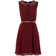Cutie Embellished collar dress ($28) ❤ liked on Polyvore featuring dresses, vestidos, robes, short dresses, maroon, women, red chiffon cocktail dress, mini dress, chiffon mini dress and short chiffon dress