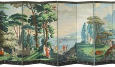 The story of Telemachus, taken from Homer's Odyssey, inspired this handpainted woodblock print paper first produced circa 1818 and remaining in production until World War I. The wallpaper pan… Scenic Wallpaper, Grisaille, Woodblock Print, Chinoiserie, Artsy Fartsy, Palm Trees, Oriental, Wallpapers