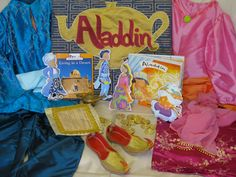 Aladdin Storysack - hand painted cloth dolls, dressing up clothes, counting game made with gold coins - made by Myatt parents group 2009