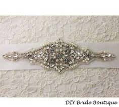 Rhinestone applique,  couture crystal applique, wedding applique,  beaded patch for DIY wedding sash, bridal accessories. $49.99, via Etsy.