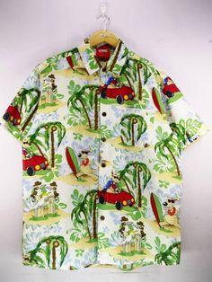 4a3cad1da54 Lowes Autralia Cartoon Beach Life Style Pattern Abstract Hawaiian Shirt  Buttons Up Hawaii Surf Beach Wear Size L