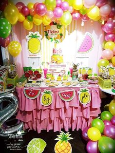 Check out this colorful Fruit Birthday Party!! See more party ideas and share yours at CatchMyParty.com #fruit #girlbirthday
