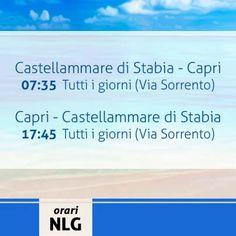 Buona serata a tutti! Oggi menzioniamo il collegamento Castellammare di Stabia - Capri (Via Sorrento) che tutti i giorni garantisce le sue corse. Per info sulle altre linee, orari, tariffe ed acquisto biglietti on-line vi rimandiamo al nostro sito http://www.navlib.it/ita/index.asp