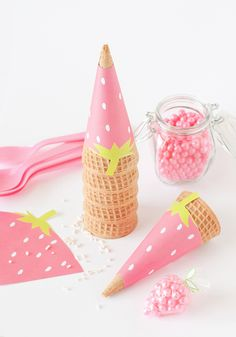 Printable Strawberry Ice Cream Cone Wrappers