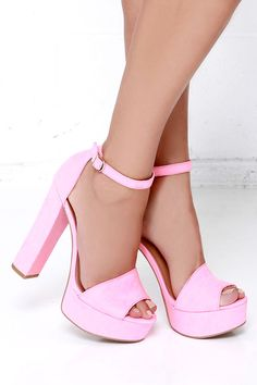 Platforms are back, so step up to the trend in the Chinese Laundry Avenue Pink Suede Platform Heels! Micro suede wraps a stunning peep toe upper. Pink High Heels, Chunky High Heels, Wedge Heels, Shoes Heels, Fairytale Fashion, Thing 1, Trendy Shoes, Shoe Collection, Fashion Shoes