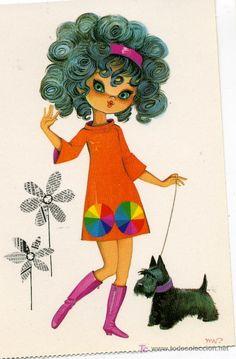 postal bergas - nº 3 tuset street Vintage Cards, Vintage Postcards, Vintage Images, Decoupage, Sketchbook Inspiration, Retro Art, Poster, Cute Illustration, Big Eyes
